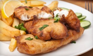 Fish and chips, filetti di pesce e patatine